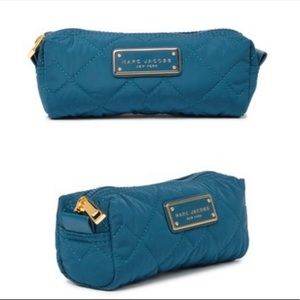 Marc Jacobs Teal Quilted Nylon Cosmetic Case